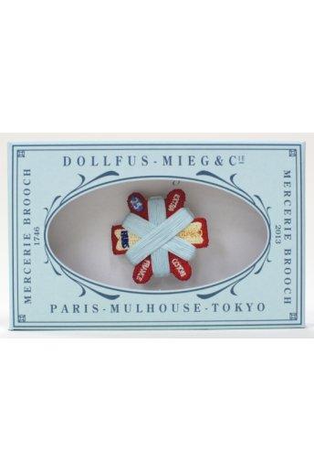 Mercerie Brooch 「メルスリーブローチ/六角形カードボビン(ブルー)」