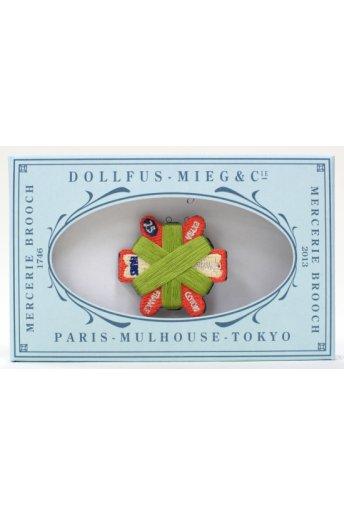 Mercerie Brooch 「メルスリーブローチ/六角形カードボビン(グリーン)」