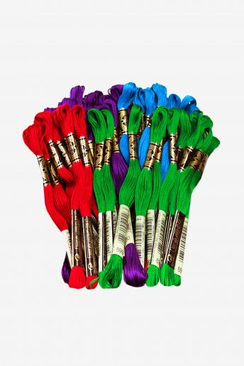 DMC Six Strand Embroidery Floss 4 Color Primary Bundle