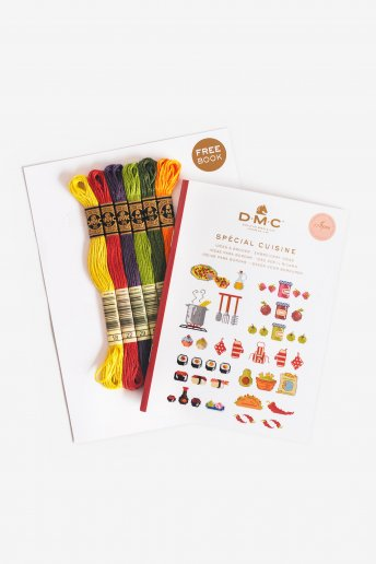 Mini Cross Stitch Booklet: Cooking Theme + 6 Skeins
