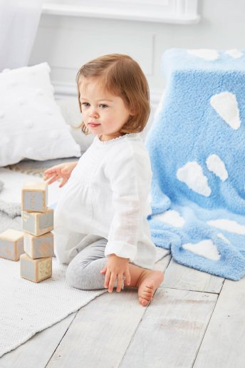 Modelo Teddy Manta com nuvens para bebé - Explicações grátis