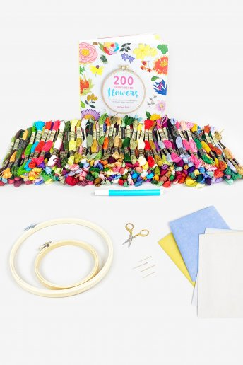 200 Embroidered Flowers Bundle