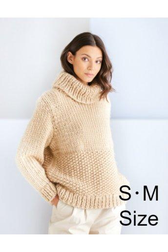 """【S・Mサイズ】ビッグニット""""メリヤス編みとかのこ編みのセーター"""" 毛糸セット(ビッグニット101X5)"""