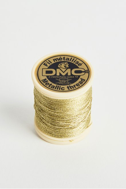 Metallic embroidery thread, pale gold