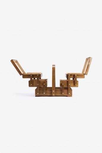 Wood Sewing Box Dark Brown
