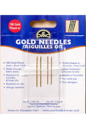Gold Tapestry Needles Size 24 & 26