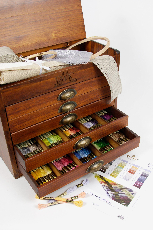 Vintage DMC broderie soie armoire de stockage Box 3 tiroirs