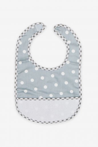 Grey Polka Dot Baby Bib