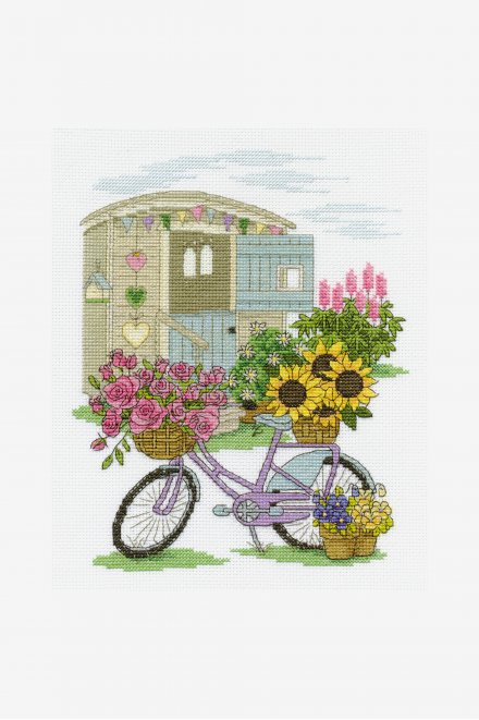 Floral Bicycle Kit - Cross Stitch Kits