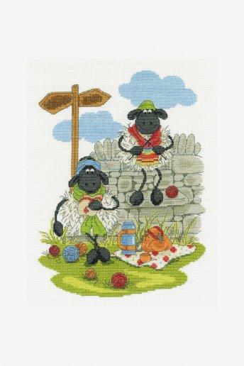 Cross stitch kit - lunching and knitting