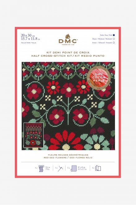Stitch kit red geo flowers