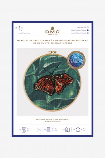 Red butterfly cross stitch kit