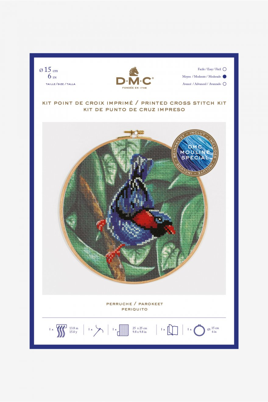 Kit point de croix motif perruche - Kits de point de croix - DMC