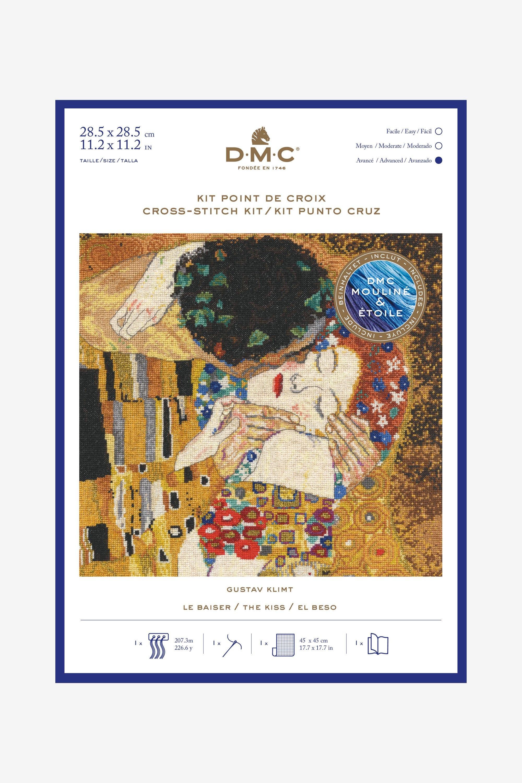 KKKKX Kit de punto de cruz para adultoBeso de Gustav Klimt 40x50cm Bordado de kit de punto de cruz de arte DIY de adecuado para principiantes para la decoraci/ón del hogar lienzo preimpreso 14CT
