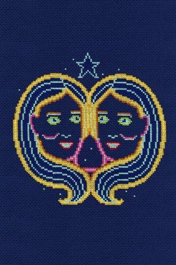 Kit punto de cruz signos del Zodíaco: Géminis
