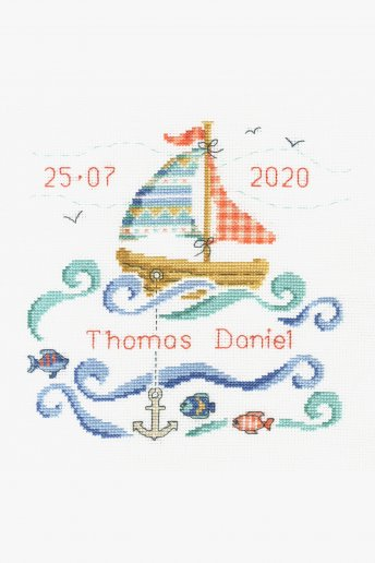 New Baby Cross Stitch Kit - Sailboat