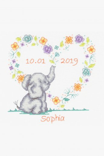 New Baby Cross Stitch Kit - Elephant