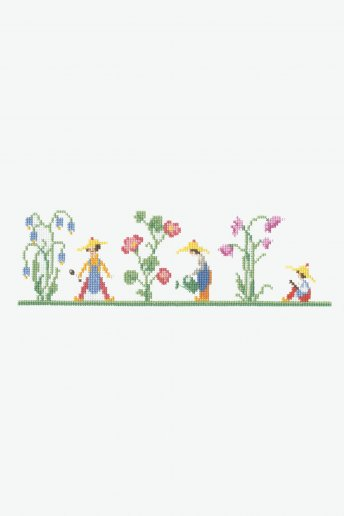 Kit ponto de cruz Marcador de páginas Jardim de jacintos
