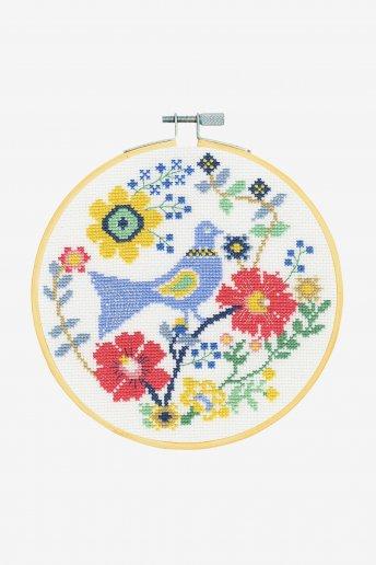 Kit point de croix un oiseau dans les fleurs