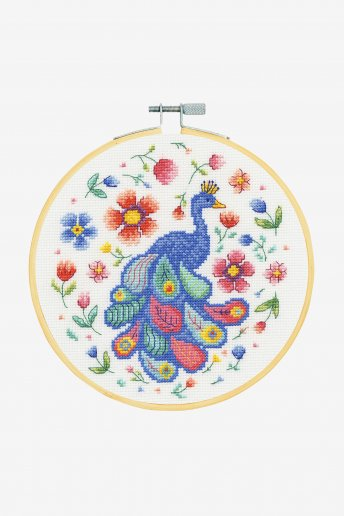 Peacock and Florals Cross-stitch Kit