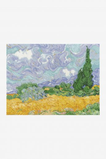 Wheat field with Cypress Van Gogh Cross Stitch Kit