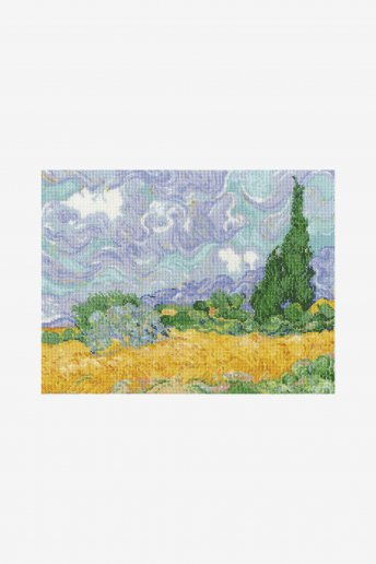 Cross stitch kit - van gogh - a wheatfield, with cypresses