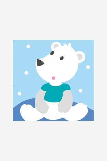 Kit canevas gros trous L'ours polaire