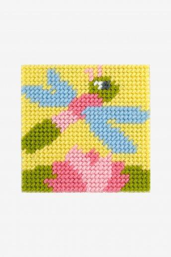 Stickset Libelle auf grobem Leinen