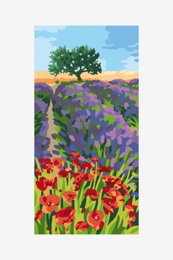 Tapestry canvas - lavender and poppies