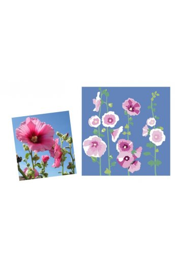 Hollyhocks Pillow Cover Kit