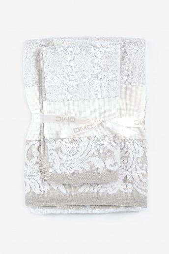 Sets de serviettes de bain coton/lin - bordure