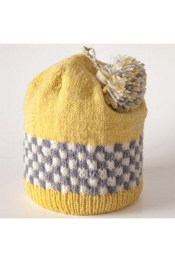 Modello tricot Taxi Driver berretto giallo con scacchiera
