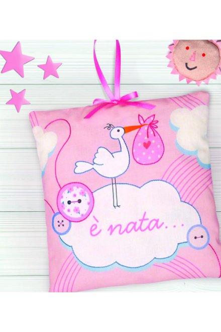Kit fiocco nascita cicogna rosa tk171