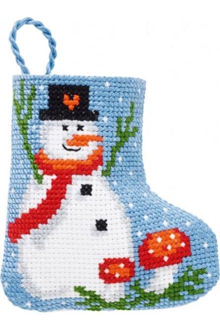 「Snowman Stoking(雪だるまときのこ)」PERMIN CROSS STITCH KITS ペルミン クロスステッチキット