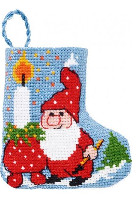 「Light/elf stocking(サンタさんとロウソク)」PERMIN CROSS STITCH KITS ペルミン クロスステッチキット