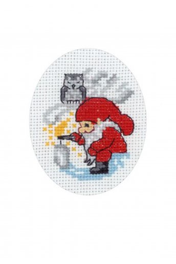 「Elf Lightning Card(サンタさんのクリスマスカード)」Permin Cross Stitch Kits ペルミン クロスステッチキット