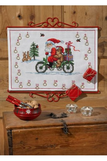 「Pixy on bike(自転車に乗ったサンタさん)」Permin Cross Stitch Kits ペルミン クロスステッチキット