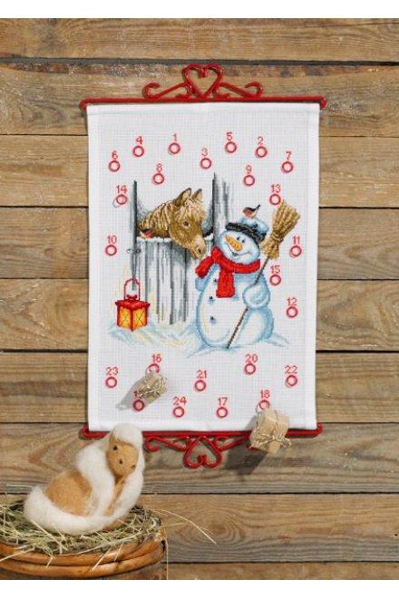 「Snowman & Horse(雪だるま&馬)」Permin Cross Stitch Kits ペルミン クロスステッチキット