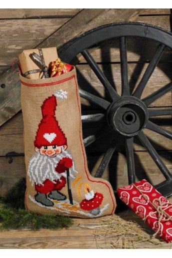 「Elf & Mushroom(サンタさん&きのこ)」Permin Cross Stitch Kits ペルミン クロスステッチキット(ソックス)