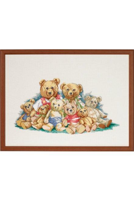 「Teddyfamily(テディ・ファミリー)」Permin Cross Stitch Kits ペルミン クロスステッチキット