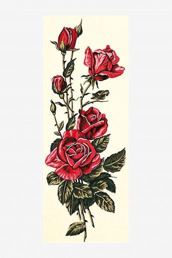 Canevas antique - Roses rouges