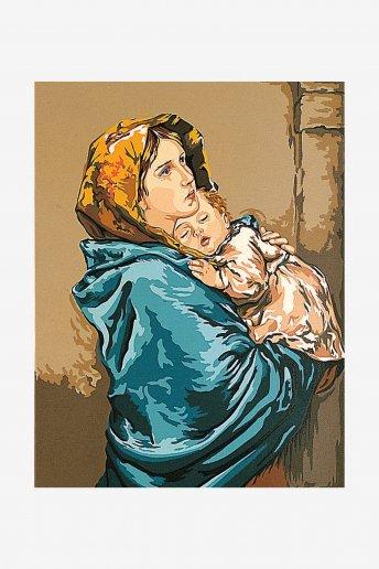 Canevas antique - La mère et l'enfant