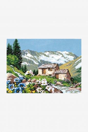 Canevas antique - L'alpage fleuri