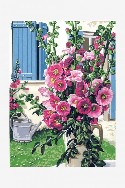Antique Canvas - Hollyhock Bouquet