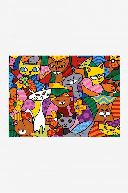 Antique Canvas - Colourful Cats