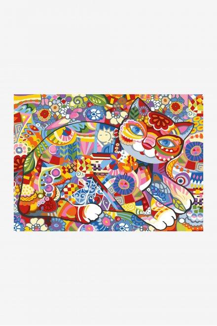 Antique Canvas - Floral Cat