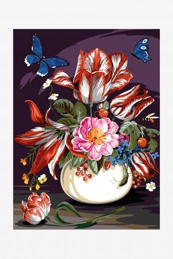 Cañamazo antique - Ramo de flores y frutos