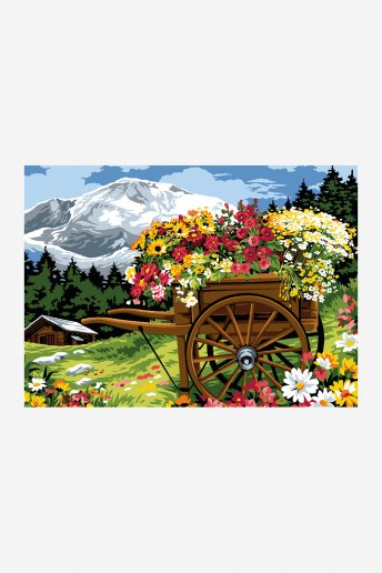 Cañamazo antique - Carro florido
