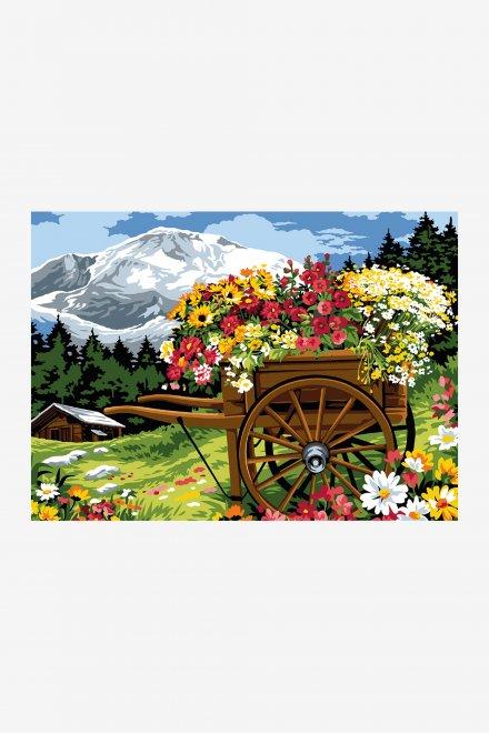 Antique Canvas - Floral Cart
