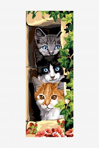 Cañamazo antique - Los tres gatos